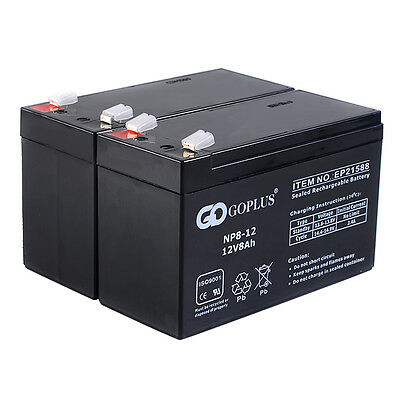 Goplus 2 PCS 12V 8Ah Battery for APC UPS, ADT, alarm wheelchair and more New