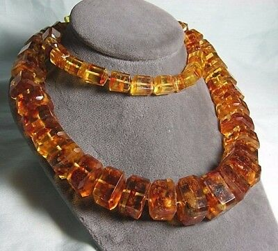 """Graduated Reconstituted Amber Bead Necklace 157.8 grams 31"""" long"""