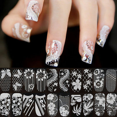 Lace Crystal Nail Art Tips Stickers Wraps Decal Decoration DIY Manicure Tool Hot