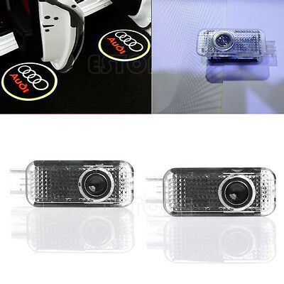 New 2 LED Logo Light Shadow Car Door Courtesy Laser Projector For Audi A4 A6 Q7