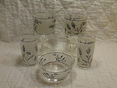 Vintage Libbey Silver Frosted Leaf Juice Glasses Goblets One Bowl Dish 5 Pieces