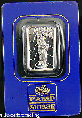 New 5 Gram Statue Of Liberty With Flag Pamp Palladium Bar .9995 Pure