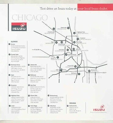 1988 1989 1990 1991 1992 ? Isuzu Chicago Dealer List Map Brochure my5674