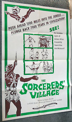 THE SORCERERS' VILLAGE 1958 Documentary one sheet movie poster AFRICAN NATIVES