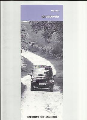 Land Rover Discovery Price List Sales Brochure March 1998