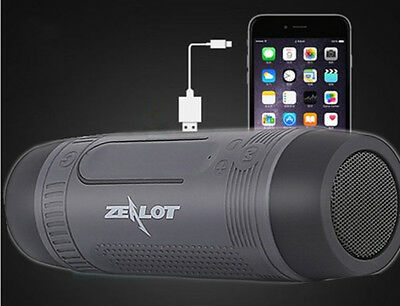 Zealot S1 Bicycle Bluetooth Speaker Outdoor Sport Car Stereo Flashlight FM Gray