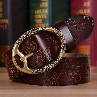 New Women Leather Belt Vintage Oval Pin Buckle Waistband Embossed Waist Strap