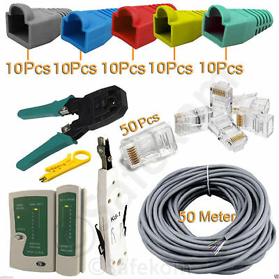 50M RJ45 Cat5 Ethernet Cable Tester Crimper Stripper Punch Down Tool Network Kit