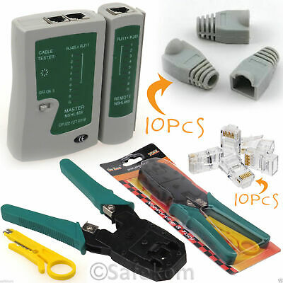 RJ45 Ethernet Cable Tester Crimping Crimper Tool Connectors & Boots Network Kit