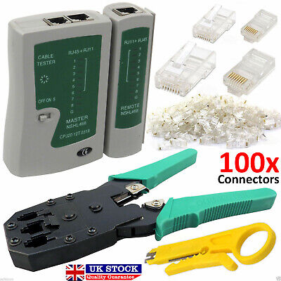 RJ45 Cat5e Cat6e Cable Tester Crimping Stripper Tool 100x Connectors Network Kit