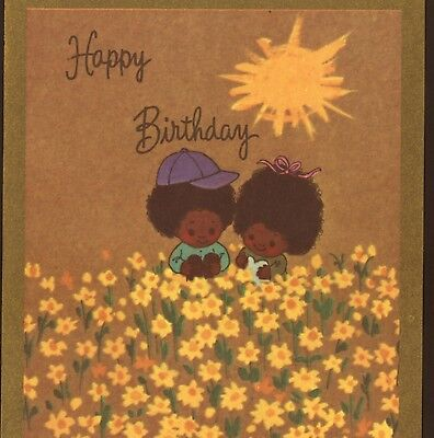Rare..! Black,afro-American Negro Children Pick Daffodils,birthday Greeting Card