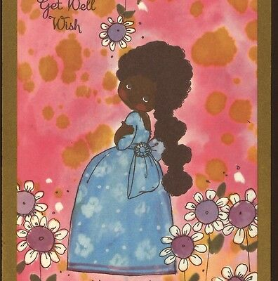 "Rare..! Black,afro-American Negro Girl,lovely Color,""get Well"" Old Greeting Card"