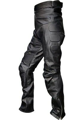 Men's Leather Motorcycle Racing Pant Padded Inseam Length 28 To 34 LLL-2585