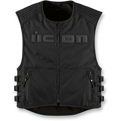 Icon Mens Brigand Black Textile Motorcycle Vest - Sizes SM/MD-4XL, Free Shipping