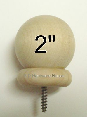 "2""  - Round Wood Ball Finial - for 1 3/8"" Rods or Wood Newel Post Railing Cap"