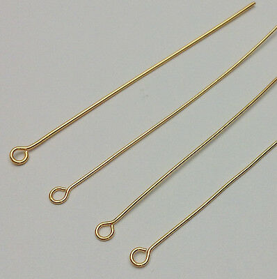 Eye pins 50mm Gold plated x 100. Thick semi-hard 0.7 wire, top quality findings