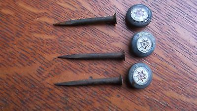 Three Antique Red Star Glass & Brass Picture Nails c1890
