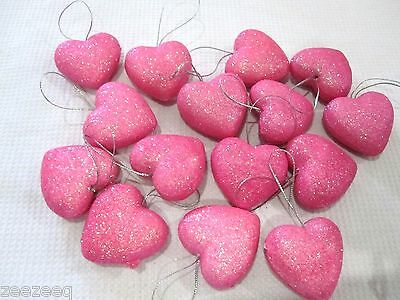 """Valentines Day Pink Glitter Hearts 1.5"""" Ornaments Decorations Decor Set of 15"""