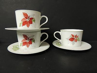 Block Spal Poinsettia 3 Flat Cups and Saucers 1982 Mary Lou Goertzen Christmas