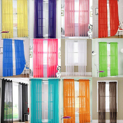 2 Pcs Tulle Voile Door Window Curtain Drape Panel Sheer Scarf Valances 12 Colors