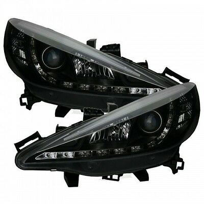 Peugeot 207 (2006-2013) Black Halo Angel Eye Projector Front Headlights Lights