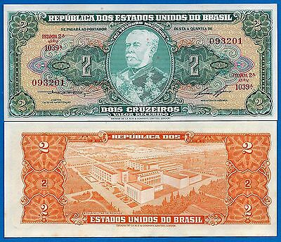 Brazil P-157A  2 Cruzeiros Year ND 1955 Uncirculated Banknote
