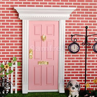 Dollhouse Miniature Fairy External Wood Door w/ Metal Key Knocker Plate Pink