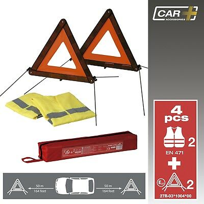 Sumex Emergency Breakdown Car Travel Kit - 2 x Warning Triangle & High Vis Vests