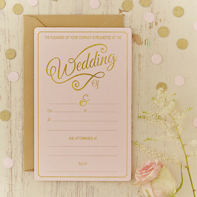 10 PINK & Gold Foiled WEDDING DAY INVITATIONS Envelopes Party Reception Evening
