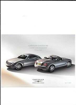 Chrysler Crossfire Coupe And Roadster Price List  'brochure'/sheet April 2005