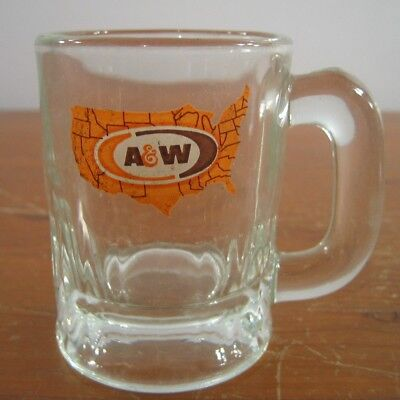 A&W Root Beer Logo Glass Mug Small United States Map Vintage Orange Brown 3-1/8
