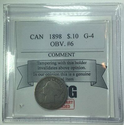 1898 Canadian Ten Cent Coin Mart Graded G-4 Obverse 6