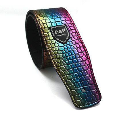 Adjustable Colorful Python Style Guitar Strap PU Leather for Folk Acoustic Bass
