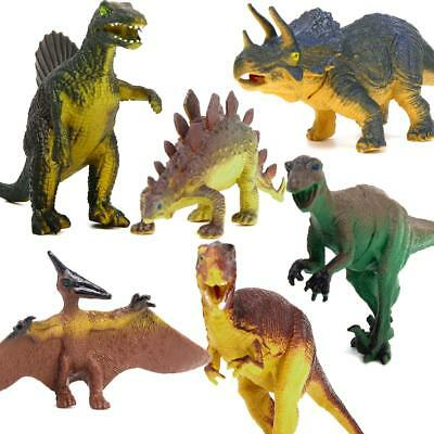 6 Assorted Dinosaur Playset Toy Animals Action Figures Set T-rex Triceratops