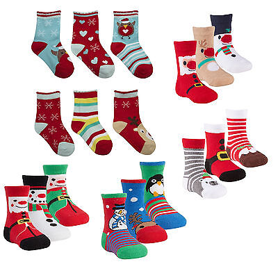 Babies 3 Pack of Novelty Christmas / Xmas Socks ~ 3 sizes ~ approx 0 - 18 months