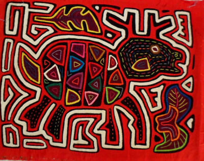 Kuna Indian Raindeer Mola Art-Panama 16010403L