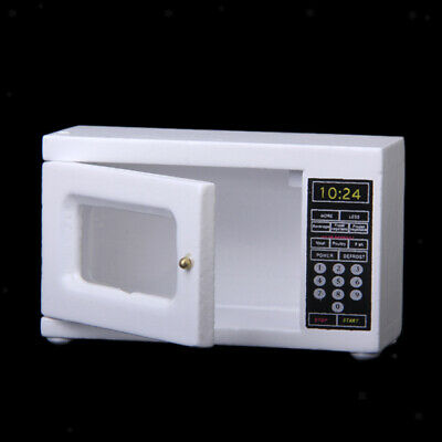 Dollhouse Miniature white Wooden Microwave Oven Kitchen Essential Accessory 1:12