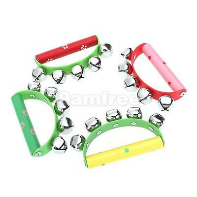 Wooden Handle 5 Metal jingle Bell handbell Tambourine Rattle percussion kid Toy