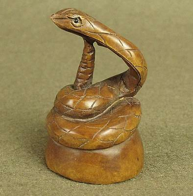 Stunning Old Carved Boxwood Snake Netsuke