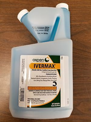IVERMECTIN Pour On 1000ml 1lt Cattle Calf Wormer Parasites Mange Lice Ivermax