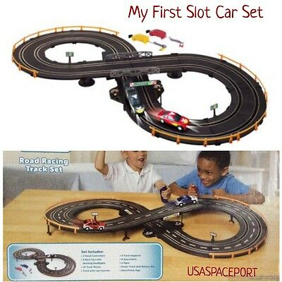 My First Kids R/C ROAD RACING SET 7' Race Track+2 Slot Cars Battery Operated Lot