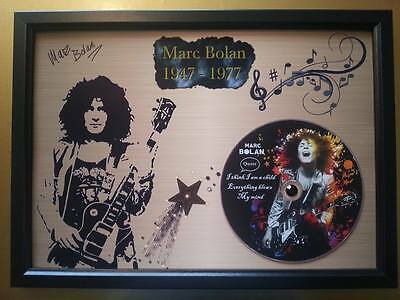 T.REX / MARC BOLAN Memorabilia CD Quote frame on gold background with Rhinestone