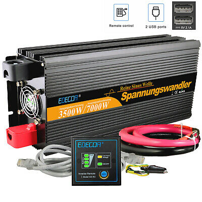 Power Inverter 3500W/7000W DC 12V AC 230V Pure Sine Wave with remote controller