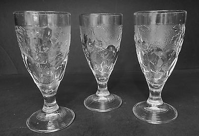 """Vintage Embossed Fruit on Clear Glass Footed Tumblers (set of 3) 7"""" tall  .."""