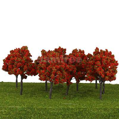 10 Red Flower Trees Model Train Railroad Architecture Garden Park Scenery HO