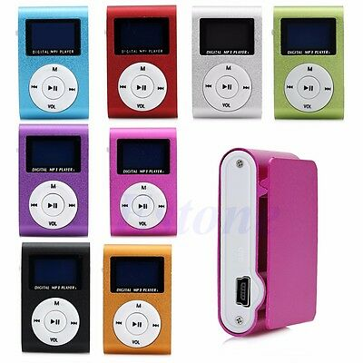 Mini USB Clip MP3 Music Player LCD Screen Support 16GB Micro SD TF Card Reader
