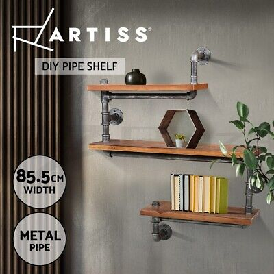 3 Level Rustic Industrial DIY Pipe Shelf Vintage Bookshelf Wall Shelving