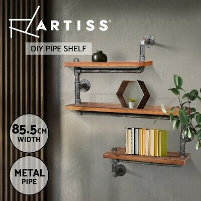 Artiss 3 Level Rustic Industrial DIY Pipe Shelf Wall Vintage Bookshelf Display
