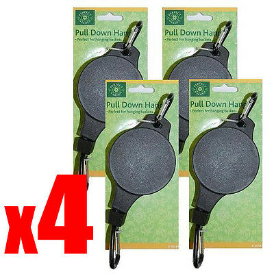 4 x HANGING BASKET PULLEY PULL DOWN HANGER - Retractable Lower Hanger Pulley
