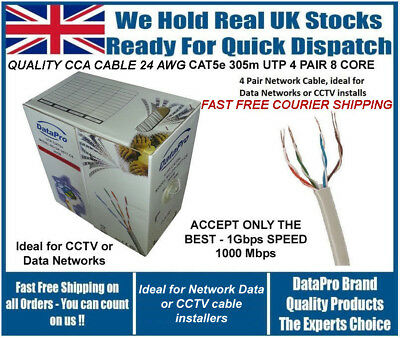 Brand New Roll Of 305M Utp Cat5E Ethernet Network Cable Solid Fast Free Shipping